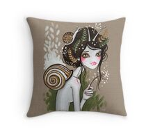 Snail Girl Throw Pillow