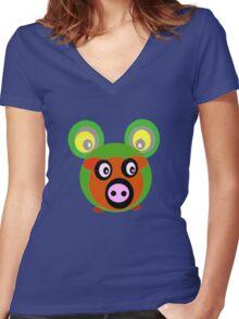 Friends..Froggy Bear Women's Fitted V-Neck T-Shirt