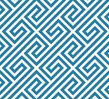 Blue Greek Keys Geometric Pattern by ImageNugget