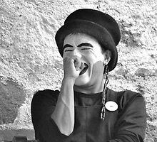 Laughing Mime (B&W) by Valerie Rosen