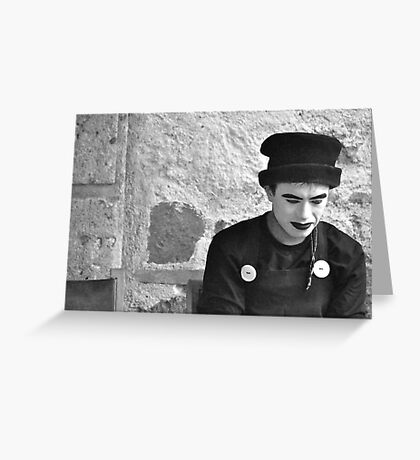 Pensive Mime (B&W) Greeting Card