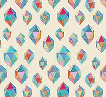 Floating Gems - a pattern of painted polygonal shapes by micklyn