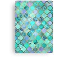 Cool Jade & Icy Mint Decorative Moroccan Tile Pattern Canvas Print