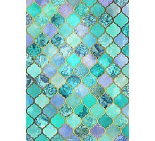 Cool Jade & Icy Mint Decorative Moroccan Tile Pattern Photographic Print