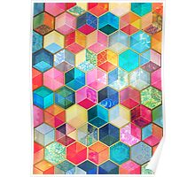 Crystal Bohemian Honeycomb Cubes - colorful hexagon pattern Poster