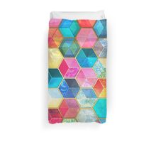 Crystal Bohemian Honeycomb Cubes - colorful hexagon pattern Duvet Cover