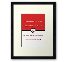 Pokemon inspired valentine. Framed Print