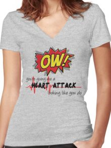 Heart Attack Women's Fitted V-Neck T-Shirt