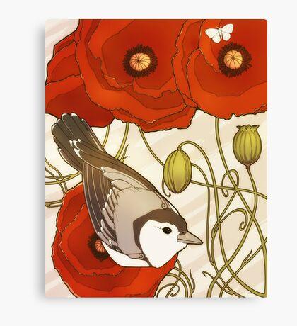 Grey Bird, Red Flowers Canvas Print