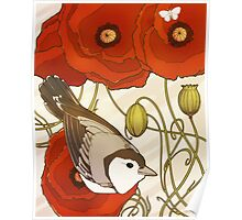 Grey Bird, Red Flowers Poster