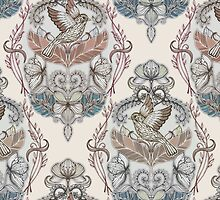 Woodland Birds - hand drawn vintage illustration pattern in neutral colors by micklyn