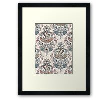 Woodland Birds - hand drawn vintage illustration pattern in neutral colors Framed Print