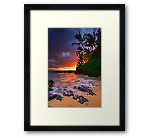 Pa'ako Beach Gold Framed Print