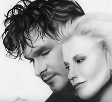 Patrick Swayze and Wife by Janelle Davies