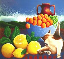 Cat washing beside lemons by rubylily