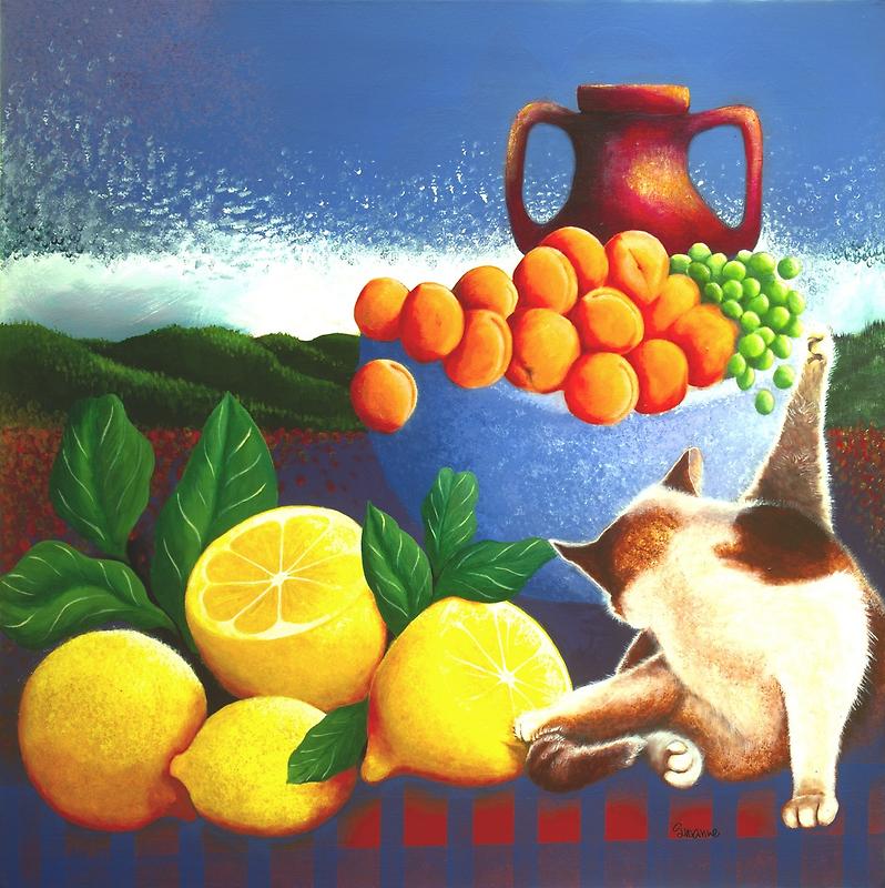 Cat washing beside lemons by rubylily