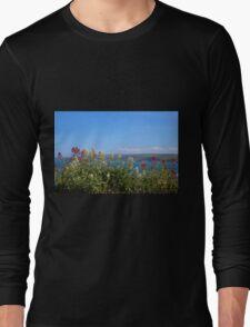 Sea And Flowers At North Cornwall Long Sleeve T-Shirt