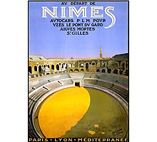 Nimes France Vintage Travel Poster Restored Photographic Print