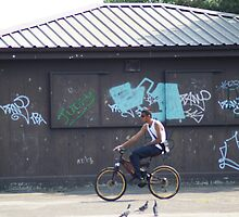 Cycling Past Graffiti - Urban Noise Series by Sandra Cockayne