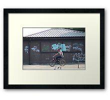 Cycling Past Graffiti - Urban Noise Series Framed Print