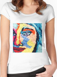 Embroidered Portrait Design Women's Fitted Scoop T-Shirt