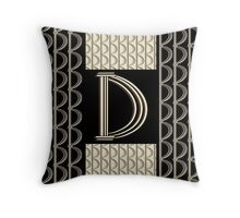 Metropolitan Park Deco 1920s monogram letter initial D Throw Pillow