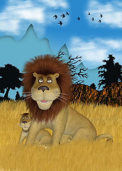 Well Hello - Lion And Cub Poster by Moonlake