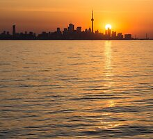 Toronto Skyline - Greeting a Brilliant Summer Sunrise by Georgia Mizuleva