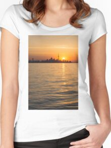 Toronto Skyline - Greeting a Brilliant Summer Sunrise Women's Fitted Scoop T-Shirt
