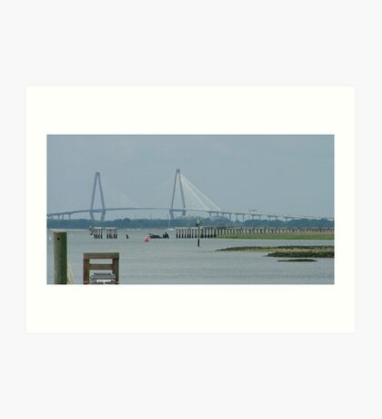 Charleston Suspension Bridge Art Print