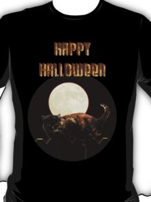 Happy Halloween! Cat on a Fence T-Shirt