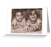 Two Little Sisters Greeting Card