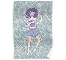 Young girl sleeping on the grass Poster