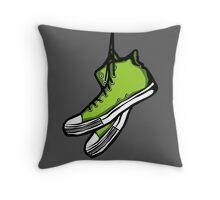 Green Sneakers Throw Pillow