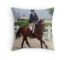 Woman Rider on Horse during Jumping Show Throw Pillow