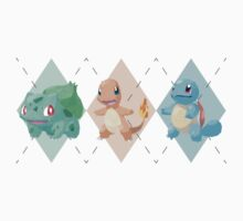 Pokemon Low Poly - 1st Gen Starters Kids Clothes