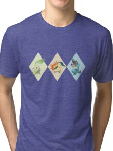 Pokemon Low Poly - 2nd Gen Starters Tri-blend T-Shirt