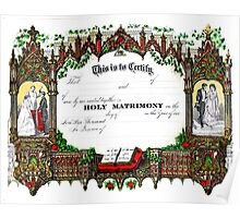 Old wedding certificate Poster