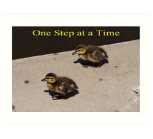 One Step at a Time - aww Baby Ducks Art Print