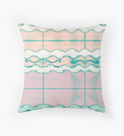 Pastel Cloud Tribe Tribal Stained Glass Tile Pattern Modern Art, Pink Peach Seafoam , Back to School Throw Pillow