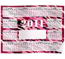 2011 Calendar in Pink and Burgundy - Sunday Start Poster