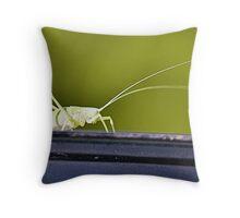 The Green Grasshopper Throw Pillow