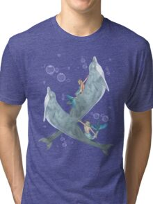 Mermen and Dolphins at Play .. tee shirt Tri-blend T-Shirt