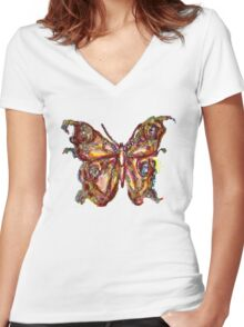 GOLD BUTTERFLY Women's Fitted V-Neck T-Shirt