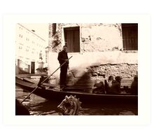 A Passing - Gondolier of Venice Art Print