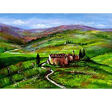 TUSCANY LANDSCAPE WITH GREEN HILLS Photographic Print