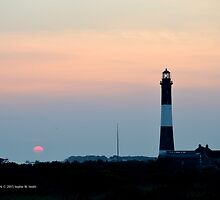 Sunrise By The Lighthouse   Fire Island, New York  by © Sophie W. Smith