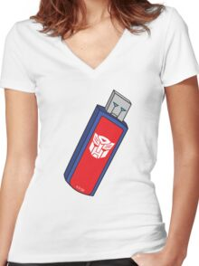 Optimus Prime USB Women's Fitted V-Neck T-Shirt