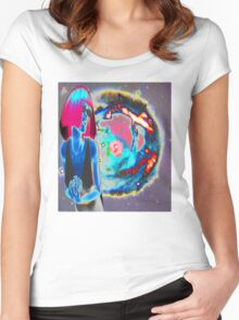PSYCHEDELIC COSMIC WONDER Women's Fitted Scoop T-Shirt