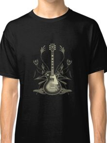 Halftone Guitar and Tribal Graphics Classic T-Shirt